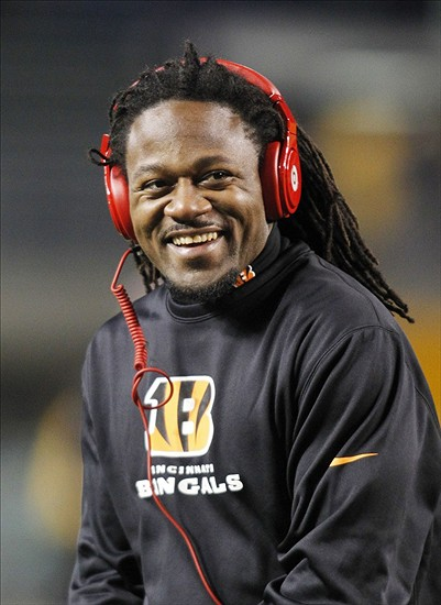 Dec 15, 2013; Pittsburgh, PA, USA; Cincinnati Bengals cornerback Adam Jones (24) reacts on the field before playing the Pittsburgh Steelers at Heinz Field. Mandatory Credit: Charles LeClaire-USA TODAY Sports