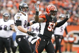 Dec 29, 2013; Cincinnati, OH, USA; Cincinnati Bengals linebacker Vontaze Burfict (55) reacts to a call during the game against the Baltimore Ravens in the first half at Paul Brown Stadium. Mandatory Credit: Mark Zerof-USA TODAY Sports