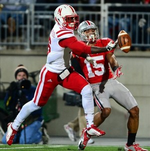 Oct 6, 2012; Columbus, OH, USA; Nebraska Cornhuskers cornerback Stanley Jean-Baptiste (16) knocks a pass away from Ohio State Buckeyes wide receiver Devin Smith (15) in the third quarter at Ohio Stadium. Mandatory Credit: Andrew Weber-USA TODAY Sports