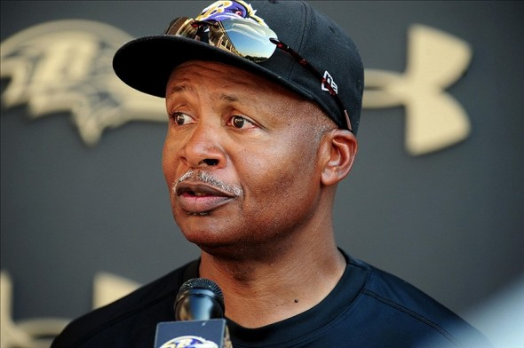 Aug 12, 2013; Owings Mills, MD, USA; Baltimore Ravens offensive coordinator Jim Caldwell talks to the media after training camp at the Under Armour Performance Center. Mandatory Credit: Evan Habeeb-USA TODAY Sports