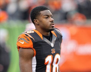 Jan 5, 2014; Cincinnati, OH, USA; Cincinnati Bengals wide receiver A.J. Green (18) on the field before the AFC wild card playoff football game at Paul Brown Stadium. Mandatory Credit: Pat Lovell-USA TODAY Sports