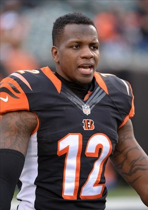 Jan 5, 2014; Cincinnati, OH, USA; Cincinnati Bengals receiver Mohamed Sanu (12) before the 2013 AFC wild card playoff football game against the San Diego Chargers at Paul Brown Stadium. Mandatory Credit: Kirby Lee-USA TODAY Sports