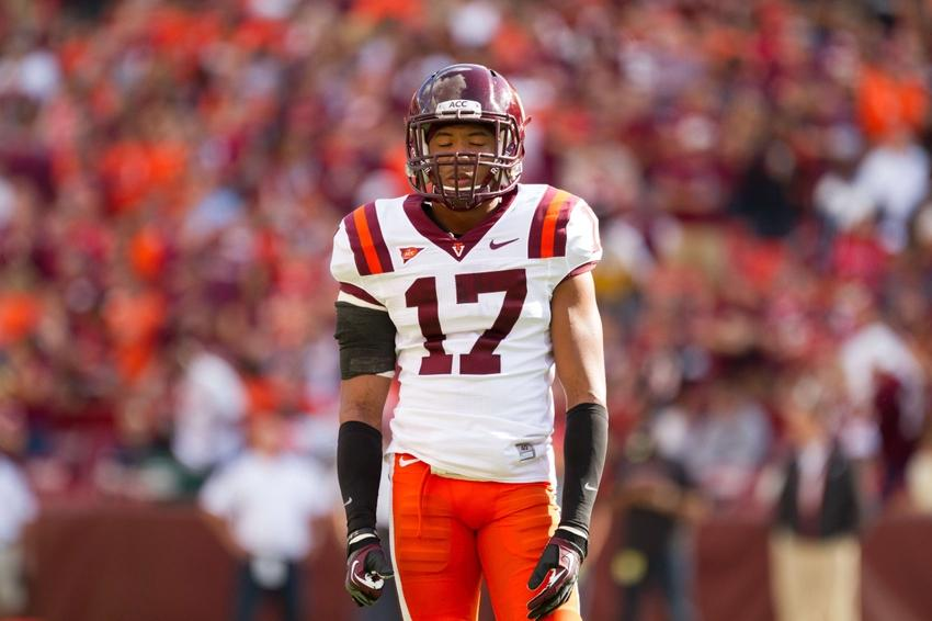 Sept 29, 2012; Landover,MD, USA; Virginia Tech Hokies cornerback Kyle Fuller reacts to a play against Cincinnati Bearcats during the first quarter at FedEx Field. Mandatory Credit: Paul Frederiksen-USA TODAY Sports