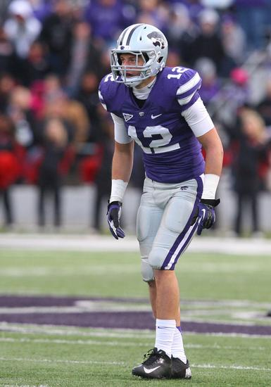 Oct 27, 2012; Manhattan, KS, USA; Kansas State Wildcats defensive back Ty Zimmerman (12) waits for action to resume during a 55-24 win over the Texas Tech Red Raiders at Bill Snyder Family Stadium. Mandatory Credit: Scott Sewell-USA TODAY Sports