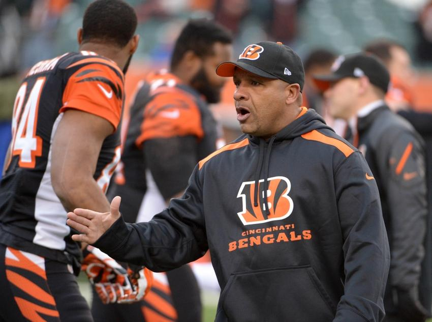 Jan 5, 2014; Cincinnati, OH, USA; Cincinnati Bengals running backs coach Hue Jackson before the 2013 AFC wild card playoff football game against the San Diego Chargers at Paul Brown Stadium. Mandatory Credit: Kirby Lee-USA TODAY Sports