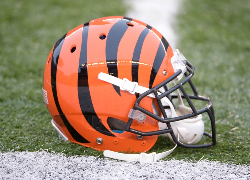 Jan 5, 2014; Cincinnati, OH, USA; General view of Cincinnati Bengals helmet on the field during the 2013 AFC wild card playoff football game at Paul Brown Stadium. Mandatory Credit: Kirby Lee-USA TODAY Sports