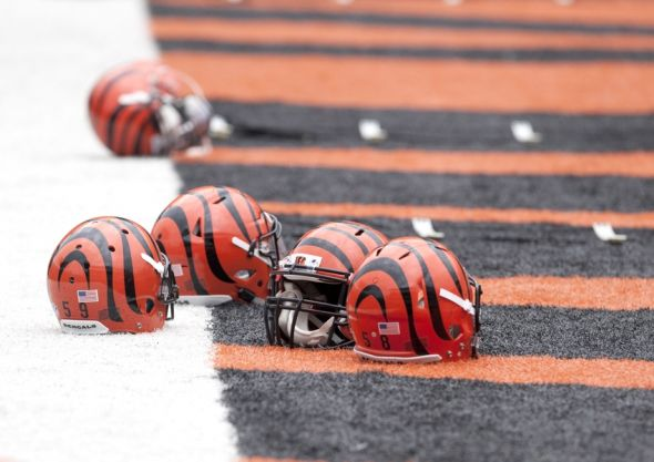 Jun 11, 2014; Cincinnati, OH, USA; Cincinnati Bengals helmets sit in the end zone during minicamp at Paul Brown Stadium. Mandatory Credit: Aaron Doster-USA TODAY Sports