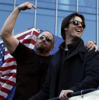 Best friends Brett Myers and Cole Hamels take time out from baseball to point fingers and celebrate America.
