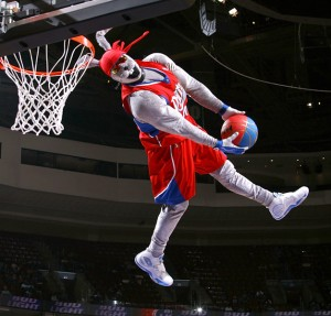In an attempt to thrill the crowd with a reverse dunk, Hip-Hop accidentally breaks his own neck on the rim and thrills the crowd even more.