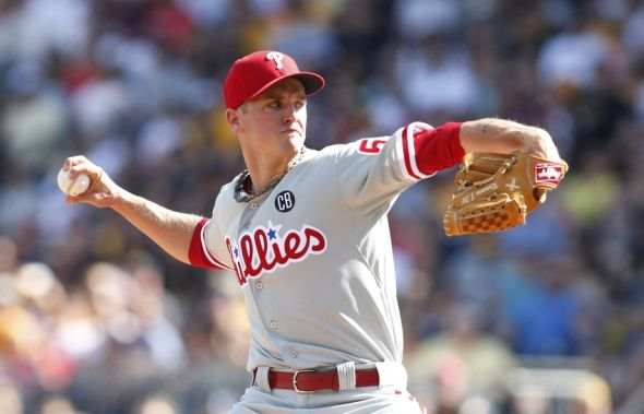 Jul 5, 2014; Pittsburgh, PA, USA; Philadelphia Phillies starting pitcher David Buchanan (55) delivers a pitch against the Pittsburgh Pirates during the second inning at PNC Park. Mandatory Credit: Charles LeClaire-USA TODAY Sports
