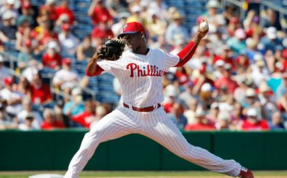 Mar 3, 2015; Clearwater, FL, USA; Philadelphia Phillies pitcher Joely Rodriguez (64) throws a pitch during the fifth inning against the New York Yankees during a spring training baseball game at Bright House Field. Mandatory Credit: Kim Klement-USA TODAY Sports