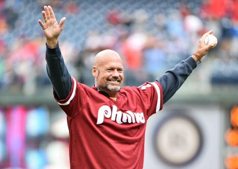 May 15, 2016; Philadelphia, PA, USA; Philadelphia Phillies former player Darren Daulton acknowledges the crowd before throwing out the first pitch before game against the Cincinnati Reds at Citizens Bank Park. The Reds defeated the Phillies, 9-4. Mandatory Credit: Eric Hartline-USA TODAY Sports