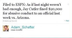 schefter tweet on Cutler fine