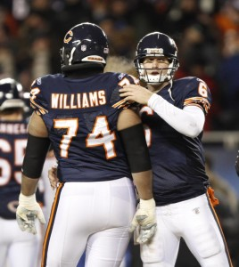 Jay Cutler and the Bears will have to get along without Chris Williams for the rest of the year after he suffered a season-ending wrist injury.