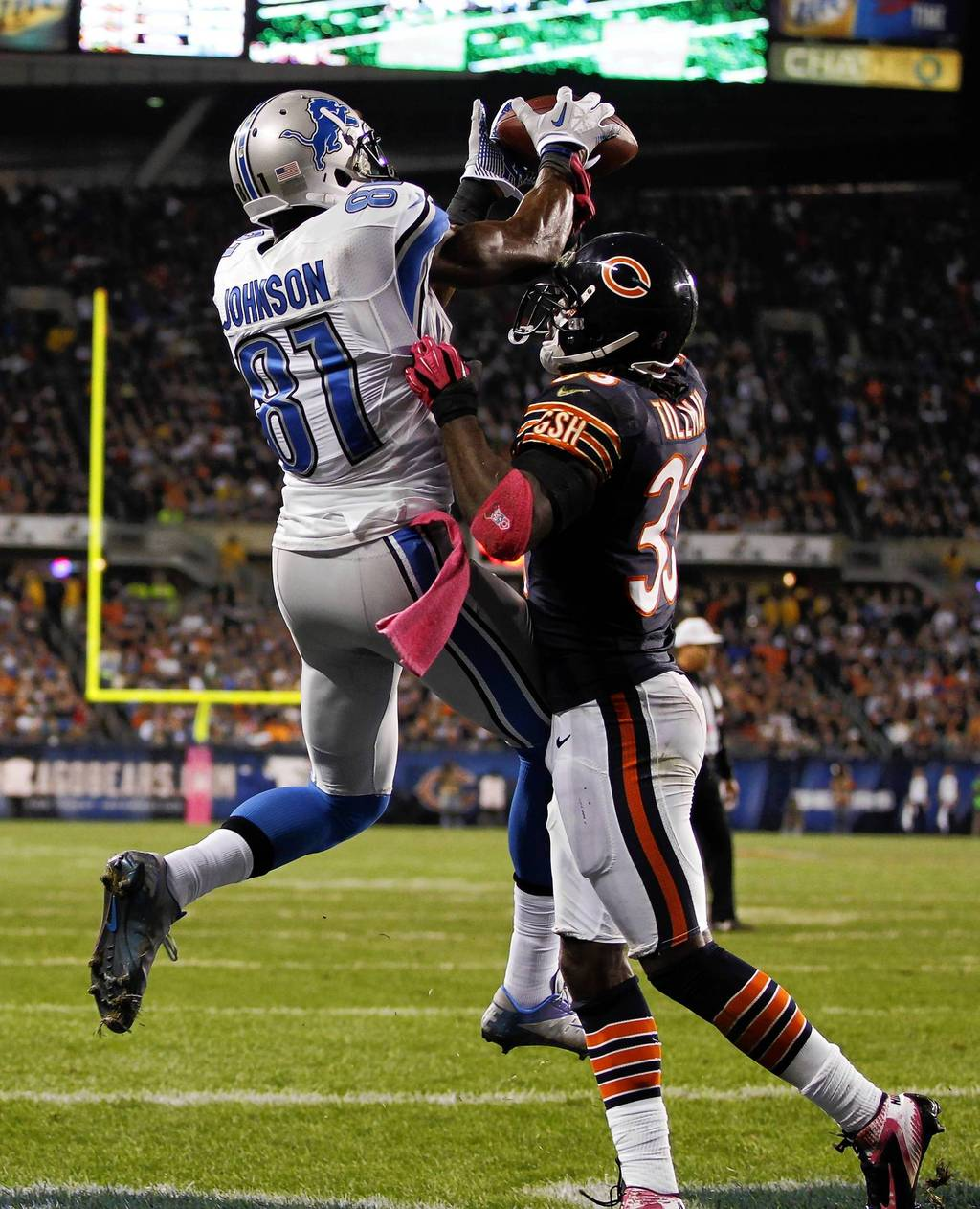 "Charles Tillman knocks down a pass intended for Calvin ""Megatron"" Johnson. (Photo courtesy of Chicago Tribune)"