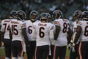 Aug 23, 2013; Oakland, CA, USA; Chicago Bears quarterback Jay Cutler (6) in the huddle before a play against the Oakland Raiders during the first quarter at O.co Coliseum. Mandatory Credit: Kelley L Cox-USA TODAY Sports