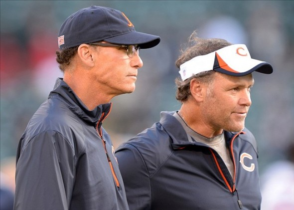 Aug 23, 2013; Oakland, CA, USA; Chicago Bears coach Marc Trestman (left) and special teams coordinator Joe DeCamillis during the game against the Oakland Raiders at O.co Coliseum. Mandatory Credit: Kirby Lee-USA TODAY Sports