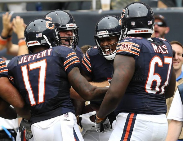 Alshon Jeffery, Kyle Long, Brandon Marshall and Jordan Mills celebrate a Bears touchdown (Photo courtesy of Chicago Tribune)