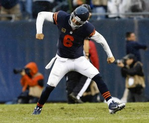 Bears quarterback Jay Cutler celebrates the game-winning touchdown. (Photo courtesy of Chicago Tribune, Jose M. Osorio, Sept. 15, 2013)