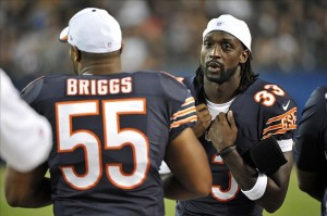 Chicago Bears outside linebacker Lance Briggs (55) and cornerback Charles Tillman (33) at Soldier Field. Mandatory Credit: Rob Grabowski-USA TODAY Sports