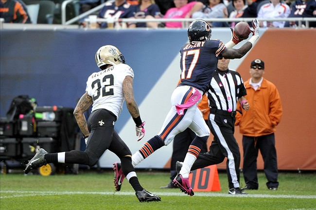 Oct 6, 2013; Chicago, IL, USA; Chicago Bears wide receiver Alshon Jeffery (17) makes a catch against New Orleans Saints strong safety Kenny Vaccaro (32) during the second half at Soldier Field. The Saints beat the Bears 26-18. Mandatory Credit: Rob Grabowski-USA TODAY Sports
