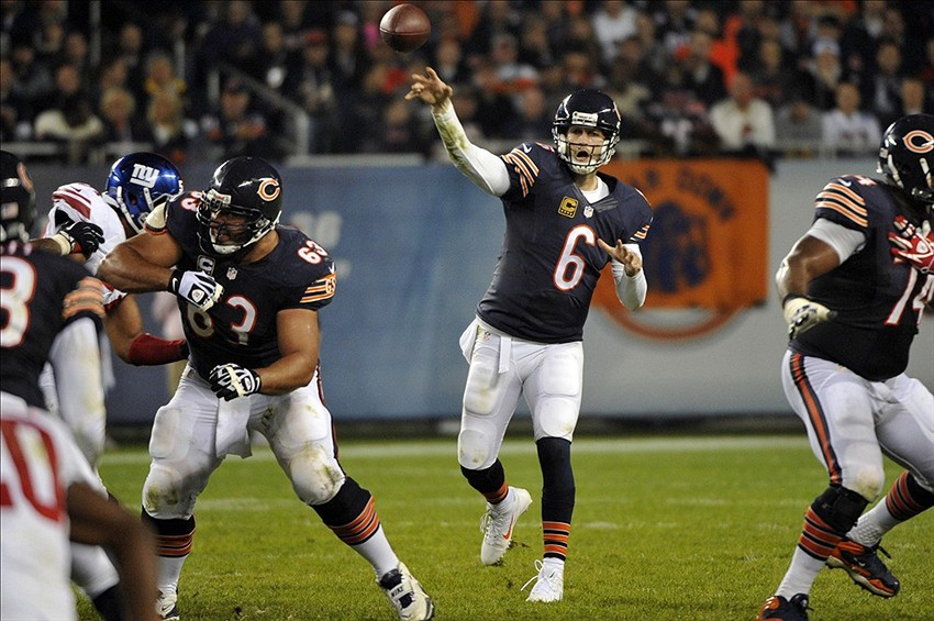 Oct 10, 2013; Chicago, IL, USA; Chicago Bears quarterback Jay Cutler (6) makes a pass against the New York Giants during the second half at Soldier Field. The Bears beat the Giants 27-21. Mandatory Credit: Rob Grabowski-USA TODAY Sports