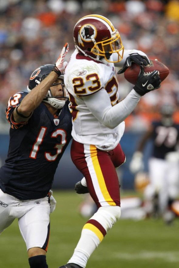 DeAngelo Hall tied an NFL record with 4 interceptions. (Photo courtesy of NFL.com)