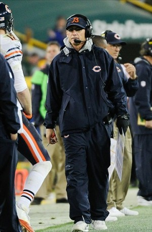 Nov 4, 2013; Green Bay, WI, USA; Chicago Bears head coach Marc Trestman watches the game against the Green Bay Packers at Lambeau Field. Mandatory Credit: Benny Sieu-USA TODAY Sports