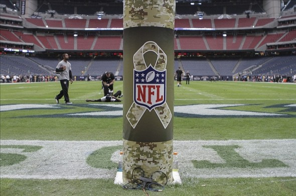 Nov 17, 2013; Houston, TX, USA; General view of an NFL logo with a salute to the military before a game between the Houston Texans and the Oakland Raiders at Reliant Stadium. Mandatory Credit: Troy Taormina-USA TODAY Sports