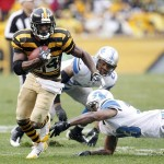Nov 17, 2013; Pittsburgh, PA, USA; Pittsburgh Steelers wide receiver Antonio Brown (84) runs after a catch and scores a 34 yard touchdown against the Detroit Lions during the first quarter at Heinz Field. Mandatory Credit: Charles LeClaire-USA TODAY Sports
