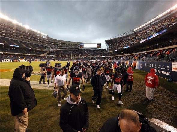 Nov 17, 2013; Chicago, IL, USA; A general view of the Chicago Bears being evacuated during severe weather in the first quarter of a game against the Baltimore Ravens at Soldier Field. Mandatory Credit: Dennis Wierzbicki-USA TODAY Sports