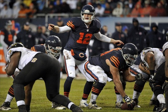 Nov 17, 2013; Chicago, IL, USA; Chicago Bears quarterback Josh McCown (12) calls a play against the Baltimore Ravens during the second half at Soldier Field. Mandatory Credit: Rob Grabowski-USA TODAY Sports