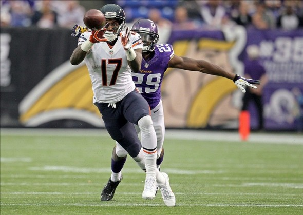 Dec 1, 2013; Minneapolis, MN, USA; Chicago Bears wide receiver Alshon Jeffery (17) catches a pass against Minnesota Vikings cornerback Xavier Rhodes (29) during the second quarter at Mall of America Field at H.H.H. Metrodome. Mandatory Credit: Brace Hemmelgarn-USA TODAY Sports