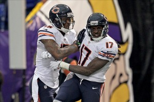 Dec 1, 2013; Minneapolis, MN, USA; Chicago Bears wide receiver Alshon Jeffery (17) celebrates his touchdown with wide receiver Brandon Marshall (15) during the third quarter against the Minnesota Vikings at Mall of America Field at H.H.H. Metrodome. Mandatory Credit: Brace Hemmelgarn-USA TODAY Sports