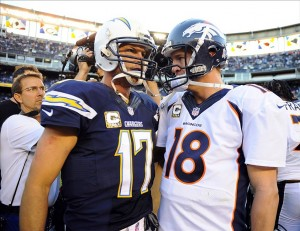 Nov 10, 2013; San Diego, CA, USA; San Diego Chargers quarterback Philip Rivers (17) talks with Denver Broncos quarterback Peyton Manning (18) after a Broncos win at Qualcomm Stadium. The Broncos won 28-20. Mandatory Credit: Christopher Hanewinckel-USA TODAY Sports