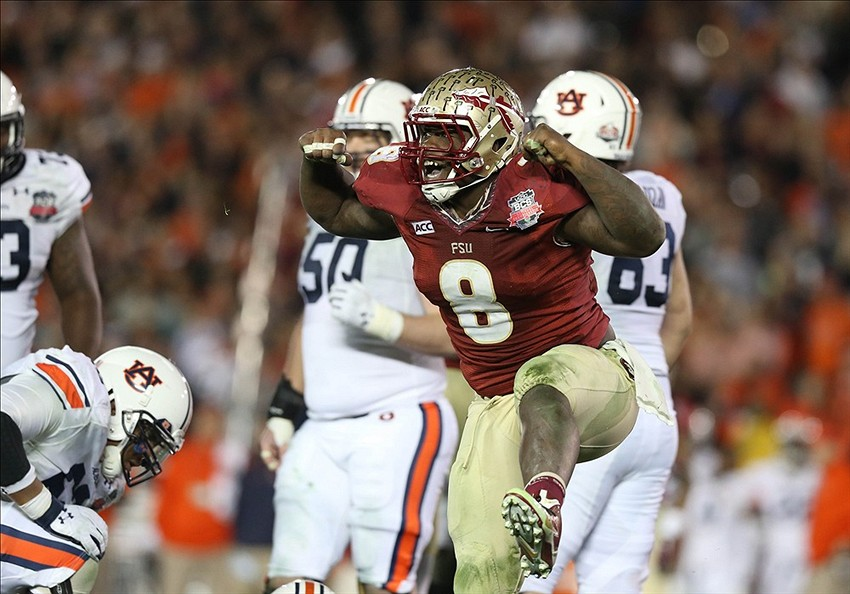 Jan 6, 2014; Pasadena, CA, USA; Florida State Seminoles defensive tackle Timmy Jernigan (8) reacts to a play against the Auburn Tigers during the second half of the 2014 BCS National Championship game at the Rose Bowl. Mandatory Credit: Matthew Emmons-USA TODAY Sports