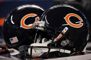 Aug 24, 2012; East Rutherford, NJ, USA; Chicago Bears helmets during the second half against the New York Giants at Metlife Stadium. The Bears won the game 20-17 Mandatory Credit: Joe Camporeale-USA TODAY Sports