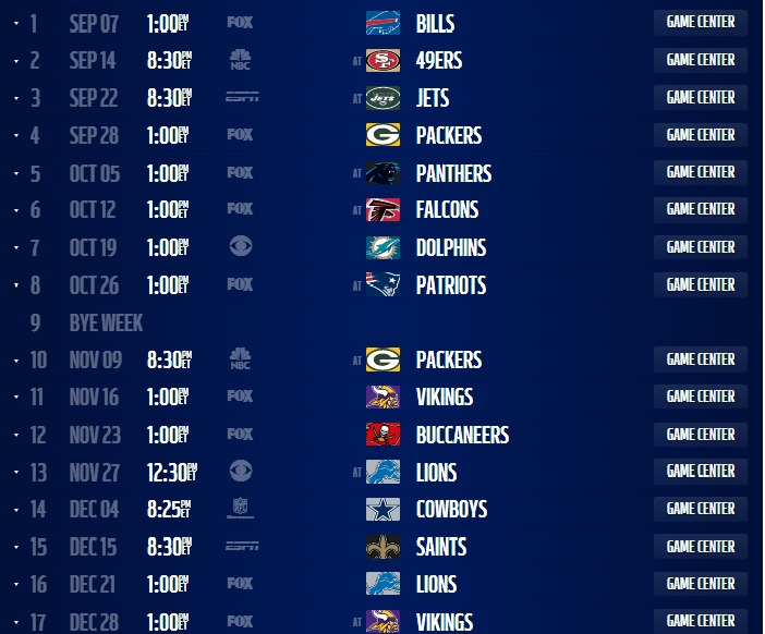 Comprehensive image in chicago bears printable schedule