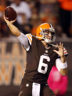 Oct 3, 2013; Cleveland, OH, USA; Cleveland Browns quarterback Brian Hoyer (6) passes against the Buffalo Bills during the first quarter at FirstEnergy Stadium. Mandatory Credit: Ron Schwane-USA TODAY Sports
