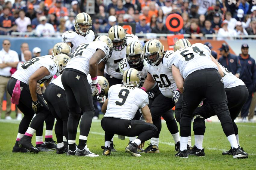 Drew Brees Saints Huddle Oct 6 2013 Chicago il Usa New Orleans Saints Quarterback Drew Brees 9