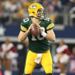Dec 15, 2013; Arlington, TX, USA; Green Bay Packers quarterback Matt Flynn (10) throws in the pocket against the Dallas Cowboys at AT&T Stadium. Mandatory Credit: Matthew Emmons-USA TODAY Sports