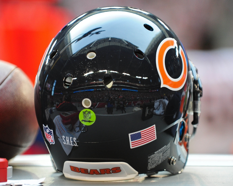 Dec. 23, 2012; Glendale, AZ, USA; General view of University of Phoenix Stadium as reflected in a Chicago Bears helmet during the first half against the Arizona Cardinals. Mandatory Credit: Matt Kartozian-USA TODAY Sports