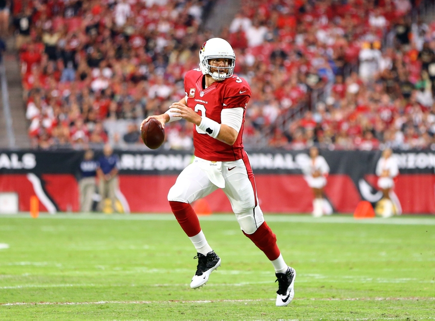 Sep 13 2015 Glendale AZ USA Arizona Cardinals quarterback Carson Palmer looks to pass in the first quarter against the New Orleans Saints at University of Phoenix Stadium. Mandatory Credit Mark J. Rebilas-USA TODAY Sports