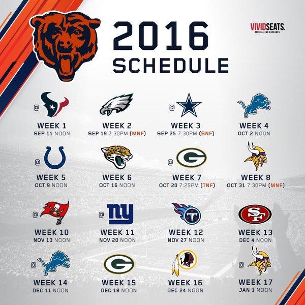 Chicago Bears Schedule 2016 | Calendar Template 2016