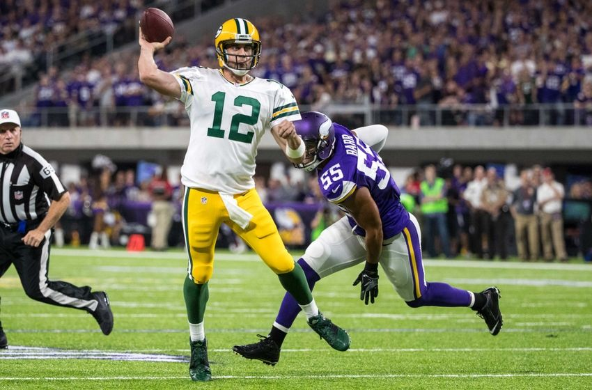 Sep 18, 2016; Minneapolis, MN, USA; Green Bay Packers quarterback Aaron Rodgers (12) throws against the Minnesota Vikings at U.S. Bank Stadium. The Vikings defeated the Packers 17-14. Mandatory Credit: Brace Hemmelgarn-USA TODAY Sports
