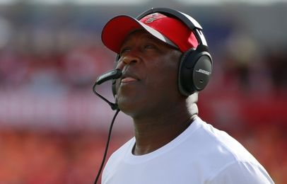 Dec 27, 2015; Tampa, FL, USA; Tampa Bay Buccaneers head coach Lovie Smith looks on against the Chicago Bears during the first half at Raymond James Stadium. Mandatory Credit: Kim Klement-USA TODAY Sports