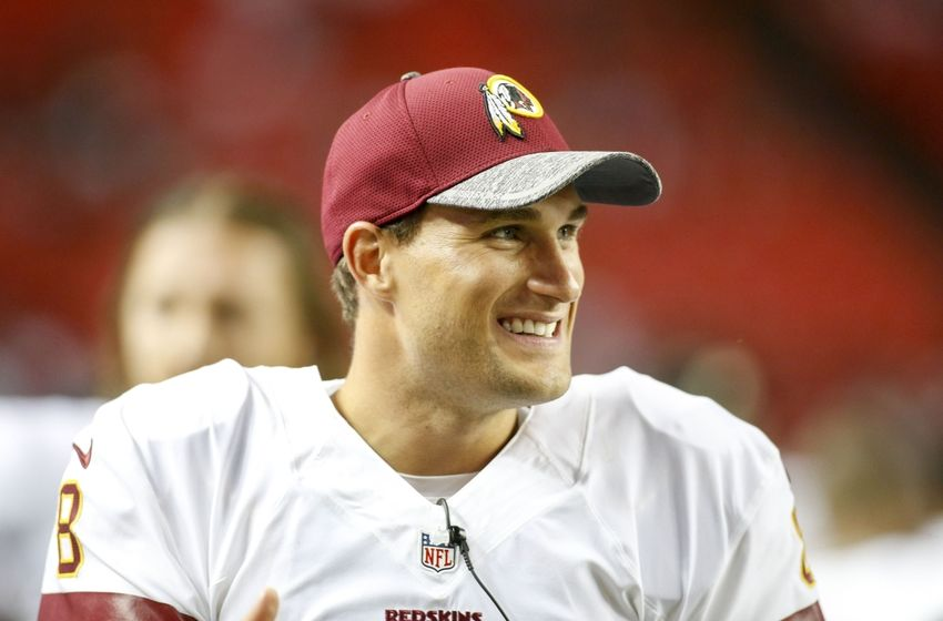 Aug 11, 2016; Atlanta, GA, USA; Washington Redskins quarterback Kirk Cousins (8) on the sidelines against the Atlanta Falcons in the fourth quarter at the Georgia Dome. The Falcons defeated the Redskins 23-17. Mandatory Credit: Brett Davis-USA TODAY Sports