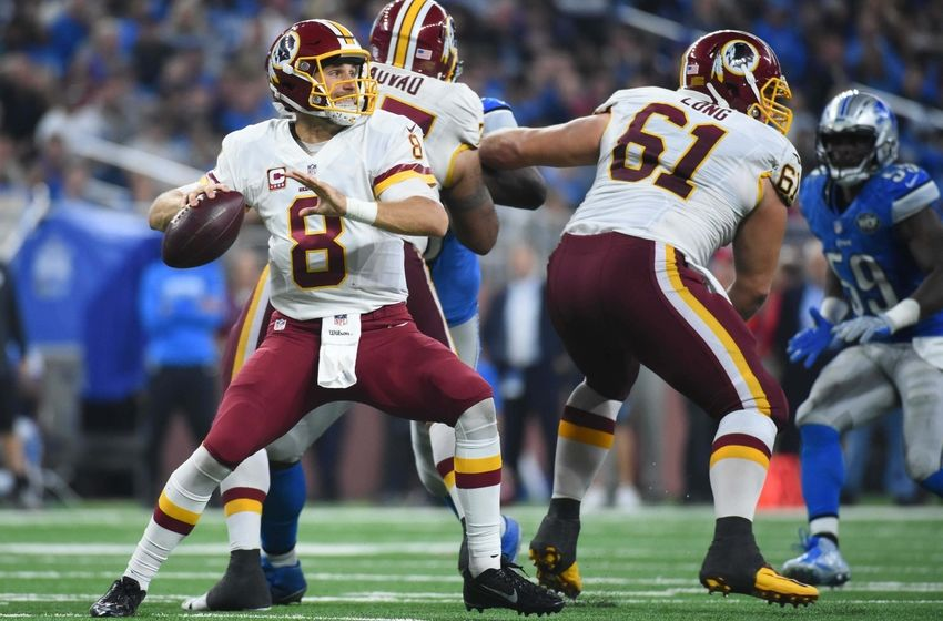 Oct 23, 2016; Detroit, MI, USA; Washington Redskins quarterback Kirk Cousins (8) drops back to pass during the fourth quarter against the Detroit Lions at Ford Field. Detroit won 20-17. Mandatory Credit: Tim Fuller-USA TODAY Sports