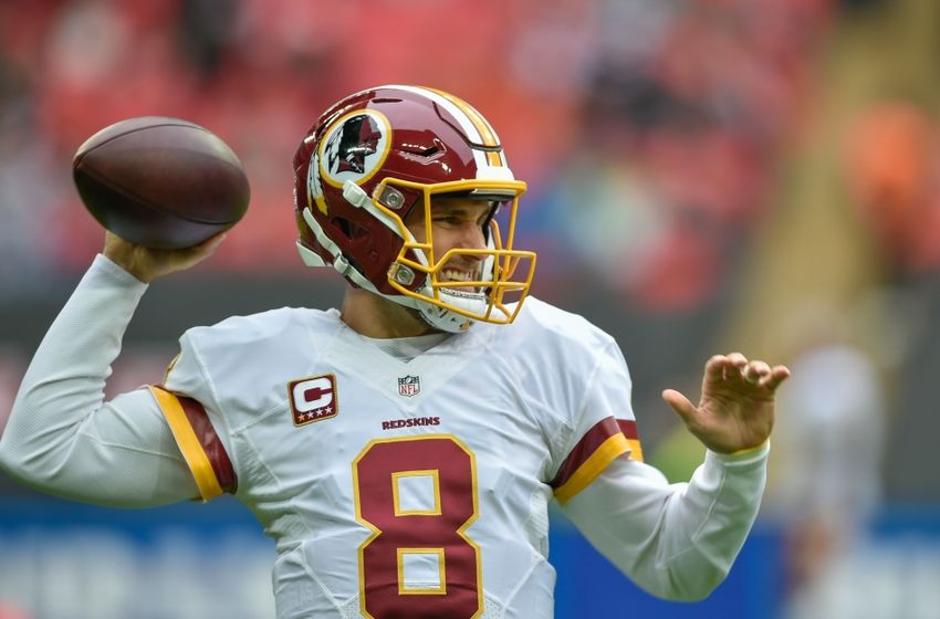 Oct 30, 2016; London, ENG; Washington Redskins quarterback Kirk Cousins (8) warms up before the game between the Cincinnati Bengals and the Washington Redskins at Wembley Stadium. Mandatory Credit: Steve Flynn-USA TODAY Sports