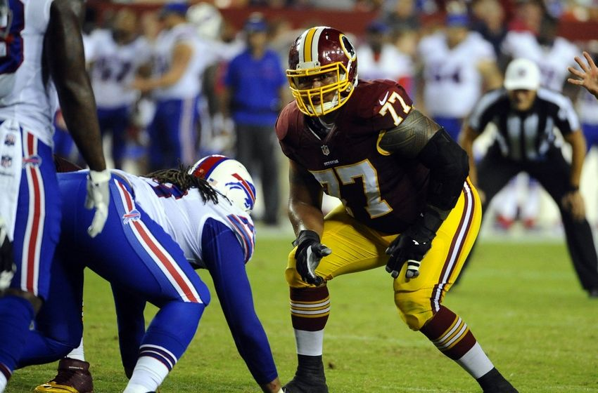 Aug 26, 2016; Landover, MD, USA; Washington Redskins guard Shawn Lauvao (77) prepares to block against the Buffalo Bills during the first half at FedEx Field. Mandatory Credit: Brad Mills-USA TODAY Sports